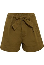 Etoile Isabel Marant Oscar Cotton Twill Shorts Army Green