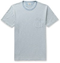 Faherty Striped Indigo Dyed Cotton Jersey T Shirt Blue
