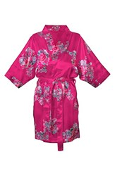Women's Cathy's Concepts Floral Satin Robe Pink Plain
