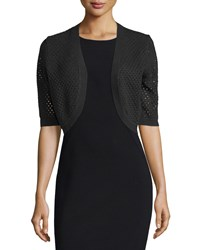 Michael Kors Collection Perforated Elbow Sleeve Shrug Black Women's Size S