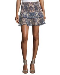 Foxiedox Floral Print Tiered Smocked Skirt Blue Pattern