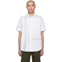 Thom Browne White Stripe Oxford Shirt