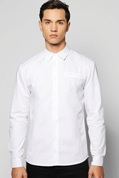 Boohoo Sleeve Button Through Shirt With 2 Side Zips White