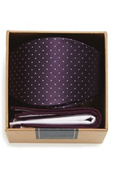 The Tie Bar Men's Dot Silk Bow And Cotton Pocket Square Style Box