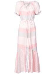 Lemlem Dera Off Shoulder Long Dress Pink And Purple