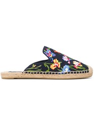 Tory Burch Max Embroidered Espadrille Sandals Black