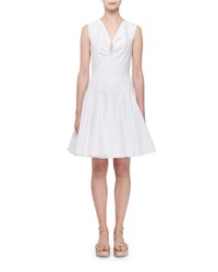 Alaia Sleeveless Keyhole Gored Fluted Dress White