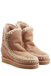 Mou Eskimo Wedge Short Sheepskin Boots With Embroidery Camel