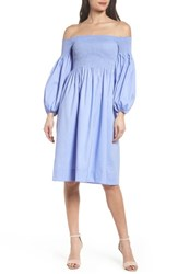 Chelsea 28 Chelsea28 Off The Shoulder Smocked Dress Blue Ivory Swiss Dot
