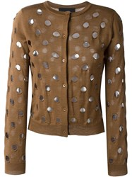 Simone Rocha Perforated Cardigan Brown