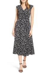 Chaus Women's Stencil Blooms Faux Wrap Midi Dress