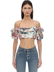 Zimmermann Printed Off The Shoulder Linen Top White Floral