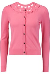 Milly Cutout Stretch Knit Cardigan Pink