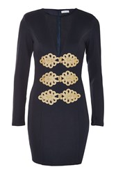 Topshop Military Style Plunge Mini Dress By Rare Navy Blue