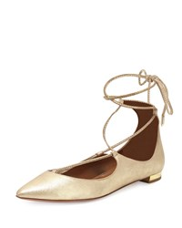 Christy Lace Up Pointed Toe Suede Flat Light Gold Aquazzura