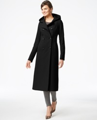 Anne Klein Double Breasted Hooded Maxi Coat Black