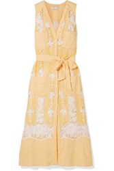 Miguelina Alexia Belted Crochet Trimmed Linen Dress Yellow