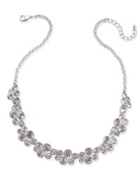 Charter Club Silver Tone Crystal Cluster Collar Necklace Only At Macy's