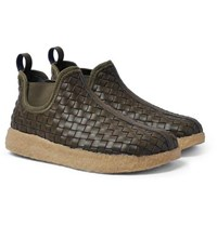 Malibu Woven Faux Leather Boots Army Green