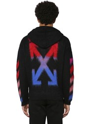 Off White Diag Brushed Mohair Blend Zip Up Hoodie Array 0X576a9b8