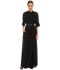 Vera Wang Peasant Maxi Jumpsuit W Pleated And Ruched Ties Black