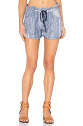 Blank Nyc Drawstring Stripe Short Blue