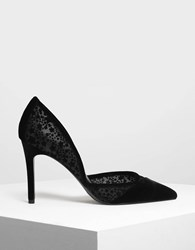 Charles And Keith Velvet Flocking Pointed Pumps Black