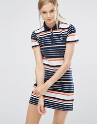 Abercrombie And Fitch Retro T Shirt Dress With Zip Front Navy Stripe Multi