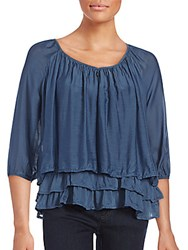 Saks Fifth Avenue Solid Tiered Top Blue