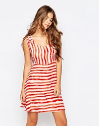 Pussycat London Dress In Stripe Red