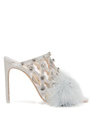 Sophia Webster Iris Crystal Embellished Feather Trimmed Mules Silver