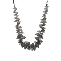 One Button Segments Clusters Cord Necklace Grey