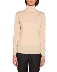 Stella Mccartney Lightweight Knit Turtleneck Sweater Sand