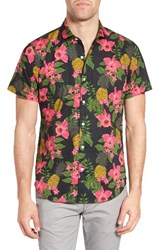 Bonobos Men's Slim Fit Print Sport Shirt Tropic Print Black