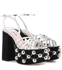 Miu Miu Embellished Plateau Sandals Black