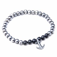 Anchor And Crew Black Onyx Keel Stone Silver Bracelet