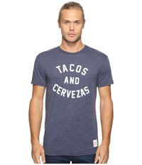 The Original Retro Brand Short Sleeve Heathered Tacos And Cervezas Tee Heather Navy Men's T Shirt