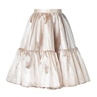 Leka Nyc Wide Champagne Organza Skirt Nude Neutrals