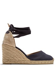Castaner Carina Canvas Wedge Espadrilles Navy