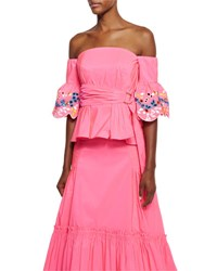 Peter Pilotto Embroidered Taffeta Off Shoulder Top Pink Pink Bright