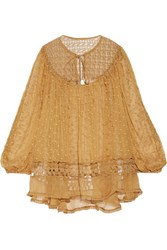 Zimmermann Belle Paneled Lace And Embroidered Silk Voile Blouse Matte Gold