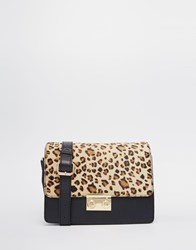 Asos Leather Satchel Bag With Faux Pony Leopard Multi