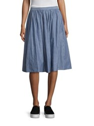 Vince Shirred Full Skirt Blue White