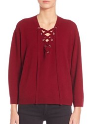 The Kooples Wool And Cashmere Lace Up Sweater Burgundy