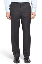 Men's John W. Nordstrom Flat Front Check Wool Trousers Dark Grey