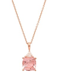 Crislu Stone Pendant Necklace 16 Rose Gold Pink