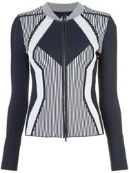 Marc Cain Patterned Fitted Zipped Jacket Polyamide Blue