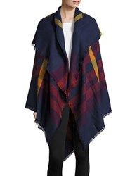 Collection 18 Plaid Blanket Scarf Navy Blue