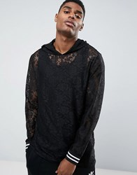 Asos Longline Lace Hoodie With Monochrome Tipping Black