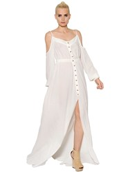 Balmain Cut Out Shoulder Cotton Voile Long Dress